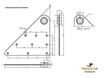 Trogear Adjustable Bowsprit - Bow Roller Brackets Drawing