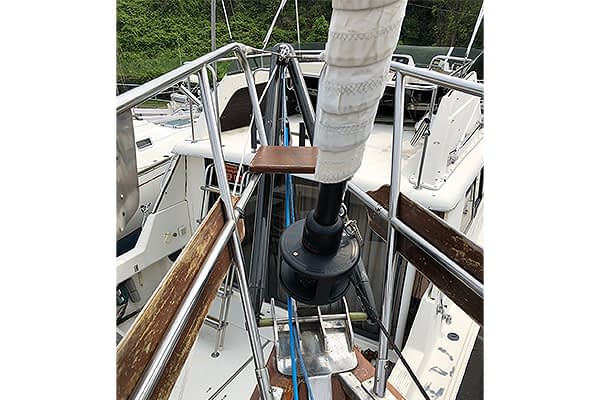 Trogear Adjustable Bowsprit Exploded fitted with Bow Roller Brackets on a Mason 43