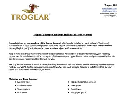 Trogear Adjustable Bowsprit AS25 - Installation Guide