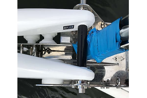 Trogear Adjustable Bowsprit Exploded fitted with Bow Roller Brackets on a Jeanneau 53 (Topview)