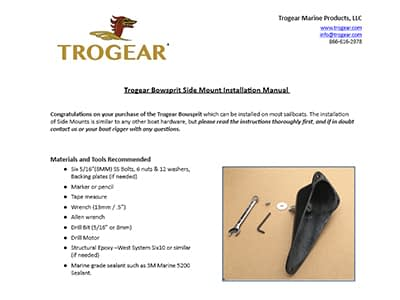 Trogear Adjustable Bowsprit - Side Mount Installation Guide for the AS50 Model