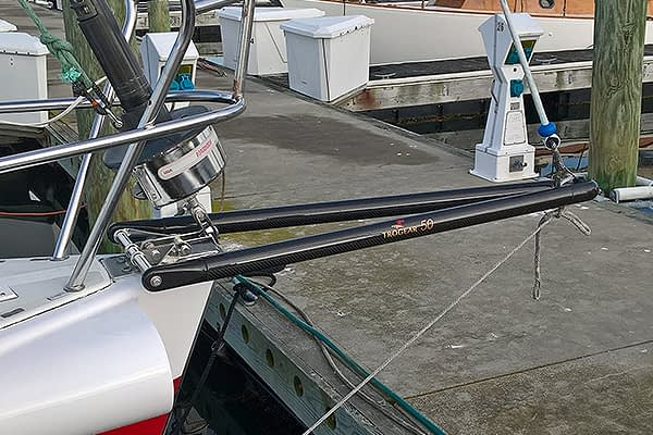 Trogear Adjustable Bowsprit Exploded fitted with Bow Roller Brackets on a J130