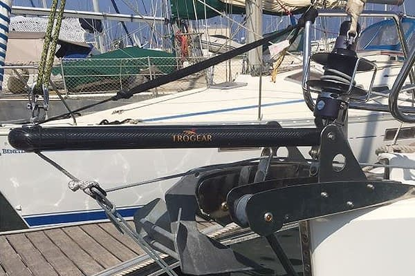 Trogear Adjustable Bowsprit Exploded fitted with Bow Roller Brackets on a Sun Odyssey 379